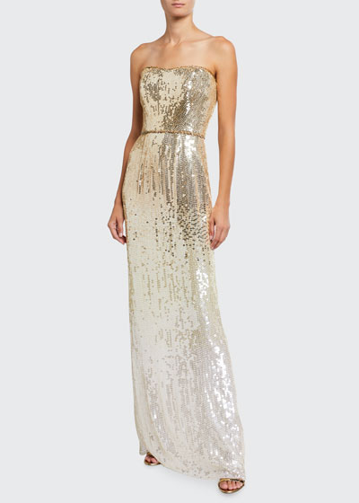 Ombre Sequin Strapless Column Gown