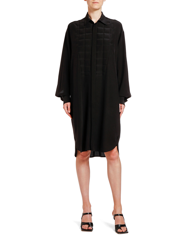 Bottega Veneta Dress SQUARE HEAT-STAMPED CREPE DE CHINE SHIRTDRESS