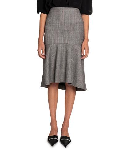 Multi-Checked High-Rise Skirt