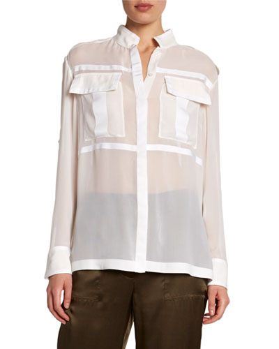 Sheer Chiffon Safari Shirt