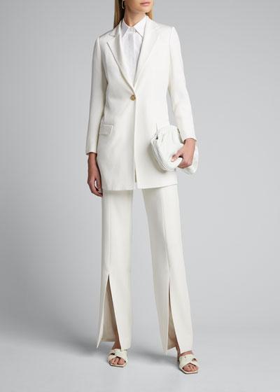 Long Silk One-Button Jacket