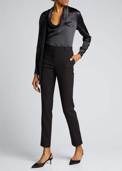Long-Sleeve Low Drape Front Silk Top w/ Attached Scarf