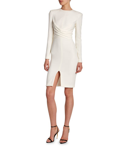 Silk Crisscross-Front Bodycon Dress
