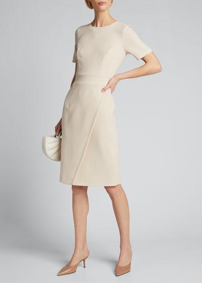 Crepe Short-Sleeve Sheath Dress