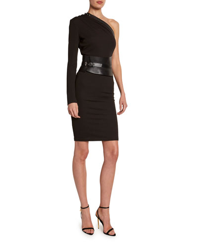 One-Shoulder Bodycon Dress with Removable Leather Harness