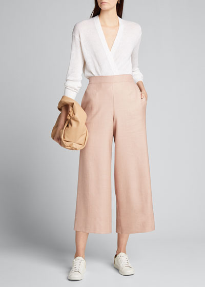 Wool-Silk Pull-On Culottes