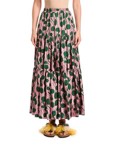 Leaf-Print Silk Big Skirt