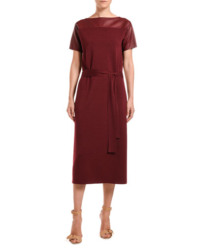 Leather-Shoulder Merino-Silk Knit Midi Dress