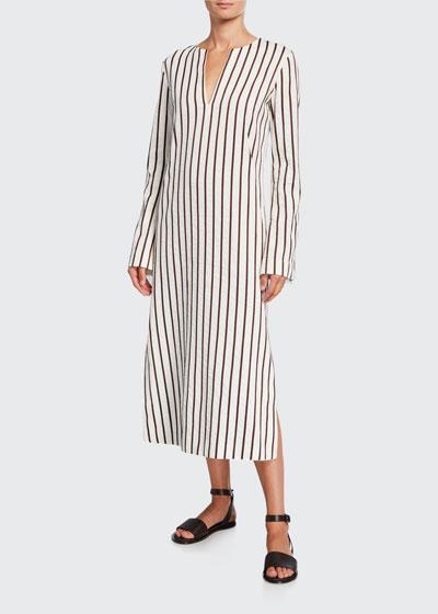 Striped Cotton Long-Sleeve Dress