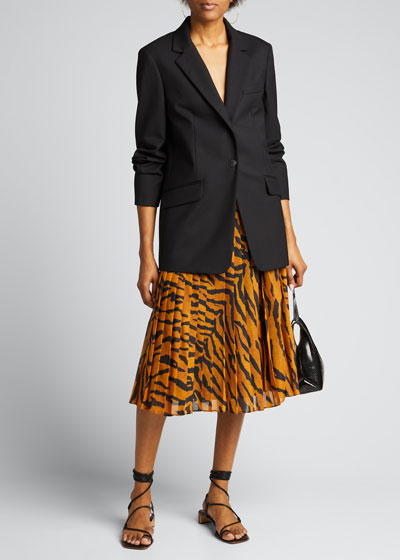 Tiger-Print Sunburst Pleated Midi Skirt