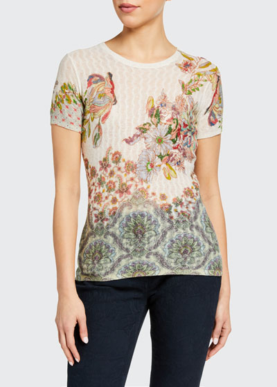 Floral Sheer Cable-Knit T-Shirt