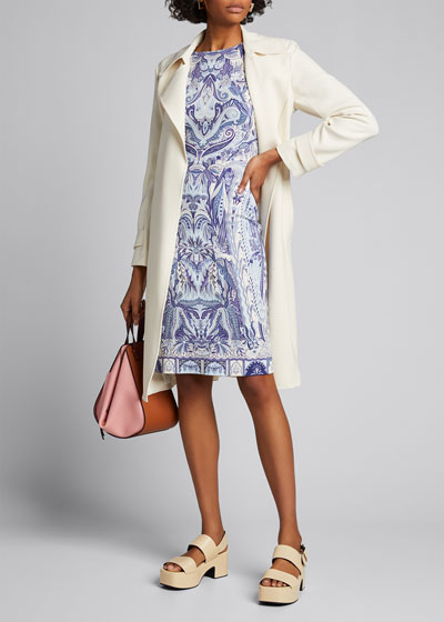 Pastel Paisley 3/4-Sleeve Jersey Sheath Dress