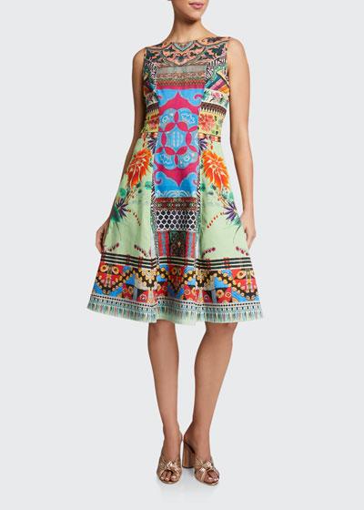 Cotton Sleeveless Fit & Flare Dress