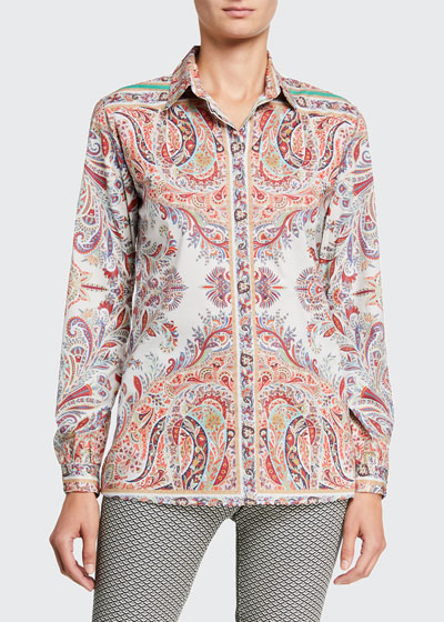 Cotton Paisley Placed Fern Shirt