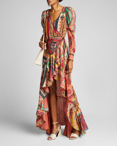 Mosaic Tile-Print Ruffled Gown