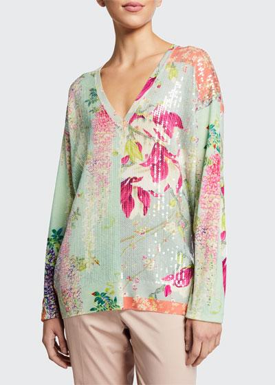Sequined Lily Print V-Neck Tunic