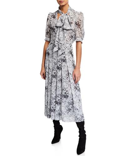 Floral-Print Bow-Neck Dress