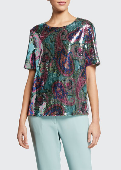 Pastel Sequined Short-Sleeve Top