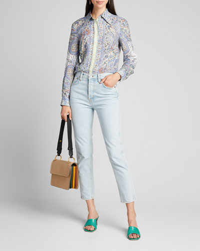 Paisley-Print Ramie Shirt with Contrast Placket