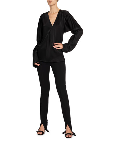 Twill Slit-Cuff Tuxedo Trousers, Black