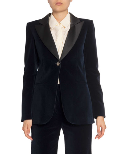 Velvet Jacket w/ Satin Collar