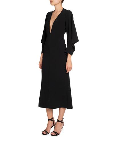 Crepe Deep-V Draped-Sleeve Dress