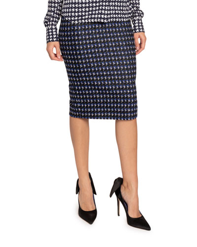 Houndstooth Jacquard Pencil Skirt
