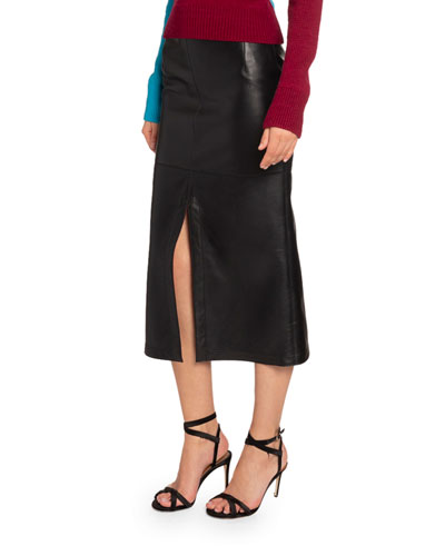 Napa Leather Midi Skirt