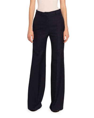 Wool High-Rise Wide Leg Pants
