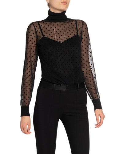 Sheer Dotted Turtleneck Sweater