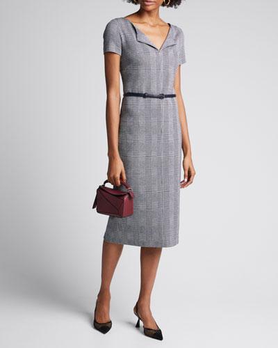 Boris Houndstooth Jersey Belted Dress