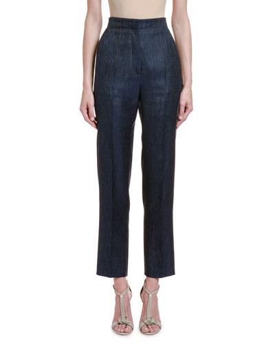 Wool-Silk Chambray Straight-Leg Trousers