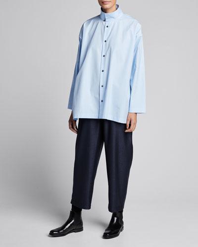 Slim A-Line Layered-Collar Blouse