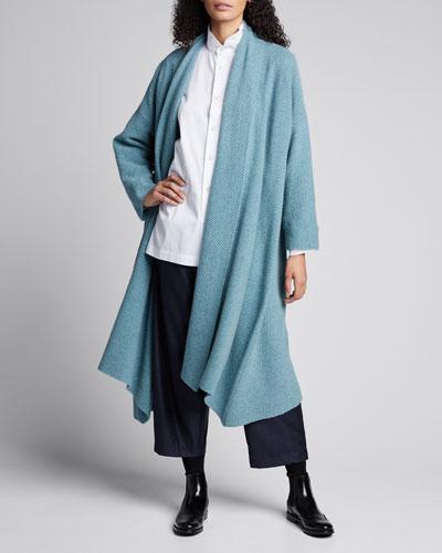 Cashmere A-Line Scrunched Shawl-Collar Cardigan