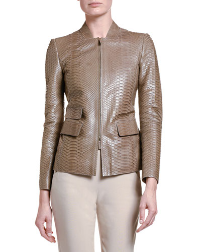 Python Leather Zip-Front Jacket