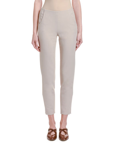 Stretch Wool Slim-Leg Cropped Pants