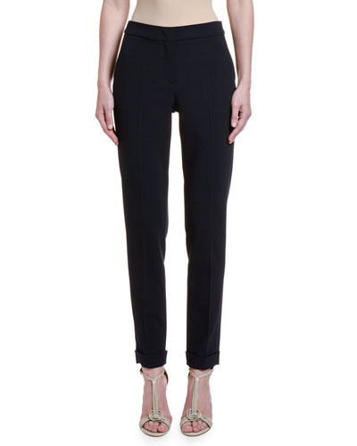 Textured Stretch-Wool Slim-Leg Pants