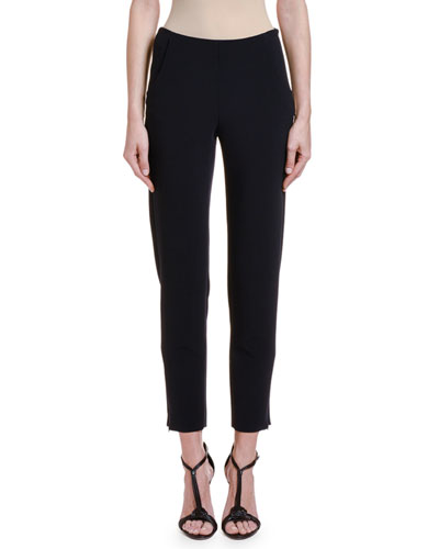 Textured Stretch-Wool Slim-Leg Pants w/ Zip Cuffs