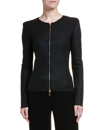 Coated Ottoman Ribbed Zip-Front Jacket