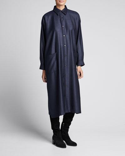 Wool-Silk Slim A-Line Shirtdress