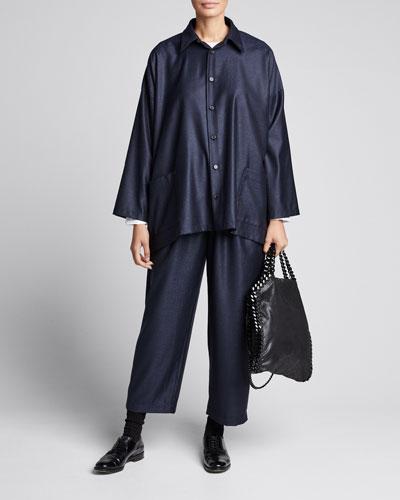 Wool-Silk Wide A-Line Jacket, Navy