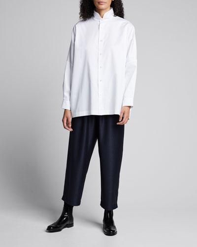 Sloped-Shoulder Stand-Collar Shirt
