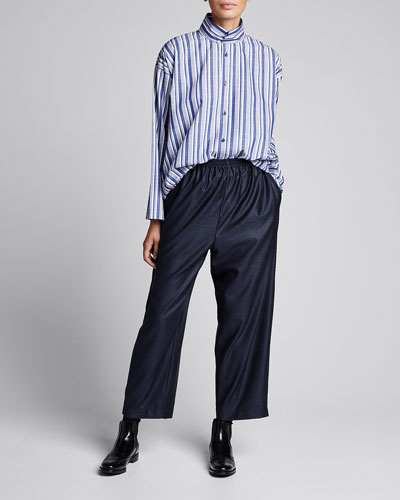 Striped Stand-Collar Slim A-Line Shirt