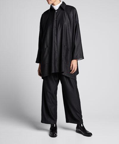 Wool-Silk Wide A-Line Jacket, Black
