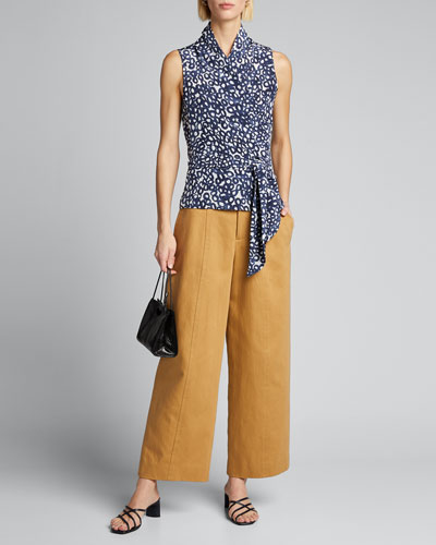 Agosto Printed Silk Wrap Blouse