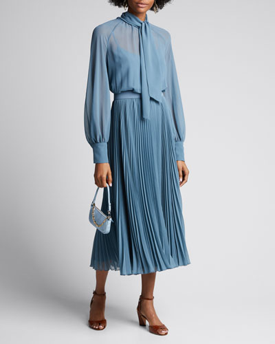 Malizia Pleated Chiffon Tie-Neck Dress