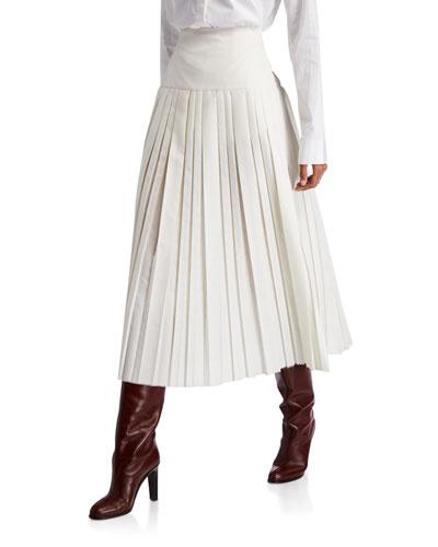 Magdita Pleated Silk Skirt