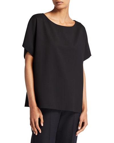 Lylia Short-Sleeve Crepe Top