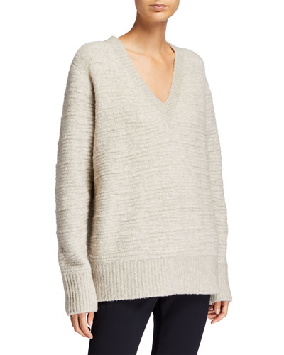 Elainie Wool-Blend V-Neck Cardigan