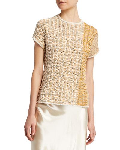 Ayaka Patchwork Woven Short-Sleeve Top
